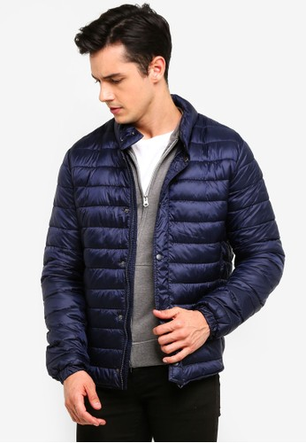 OVS navy Quilted Jacket With High Collar E6496AADB0B27CGS_1