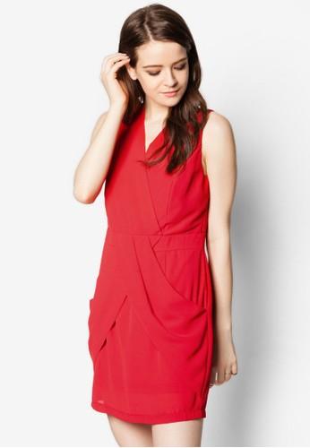 esprit官網V 領裹飾迷你連身裙, 服飾, 服飾