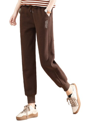 A-IN GIRLS brown Elastic Waist Warm Casual Pants (Plus Cashmere) 94D81AAC413371GS_1