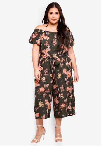 Dorothy Perkins green Plus Size Khaki Floral Bardot Jumpsuit 61B84AAA8A0C50GS_1