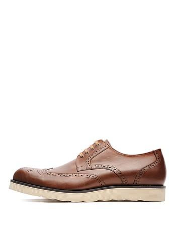 MIT頭層NAPPesprit outletA牛皮。休閒德比鞋-04697-咖色, 鞋, 皮鞋