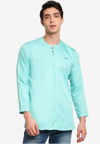 Mudaser blue Teal Long Sleeve Casual Shirt 09040AA5ACDE2CGS_1