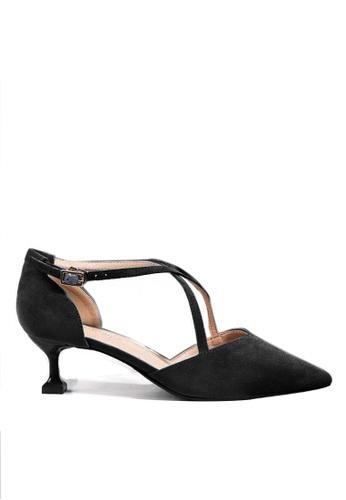 Twenty Eight Shoes 黑色 尖頭絨面高踭鞋6208-1 8AB61SH8C465D8GS_1