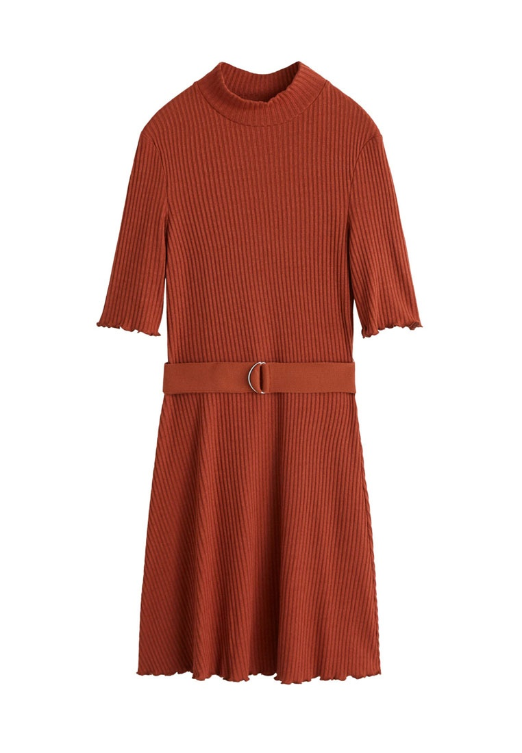 Mango Orange Ribbed Dress Medium Belt qxAzEgw