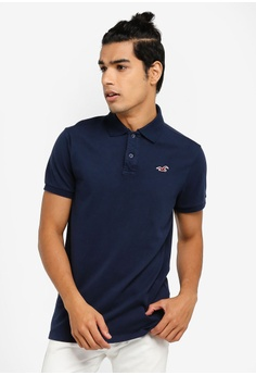 b77515a25 Hollister blue and navy Heritage Solid Polo Shirt CA24EAABA984F2GS_1