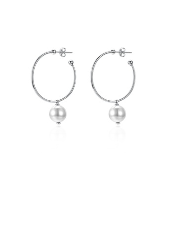 Glamorousky white 925 Sterling Silver Elegant Fashion Circle Earrings with Whit Pearl 15567AC64BECBAGS_1