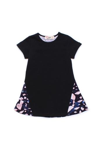 Mini Moley black Design Print Girl's Shift Dress 97E22KAFCC2165GS_1