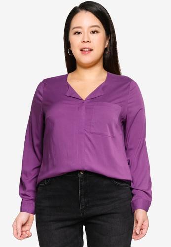 Vero Moda 紫色 大尺碼 Veronica 長袖上衣 B5636AA0E69EC9GS_1