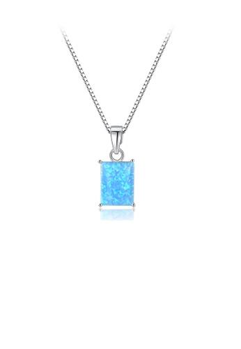 Glamorousky blue 925 Sterling Silver Simple Fashion Geometric Blue Imitation Opal Pendant with Necklace 4E753ACF69A178GS_1