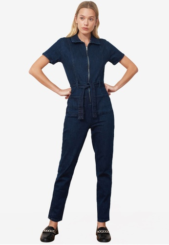 Trendyol navy Belted Denim Utility Jumpsuit A8494AAC40F8F7GS_1