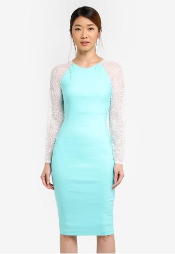 Vesper green Vesper Rhona Lace Sleeve Bodycon Dress 534A4AA095E800GS_1