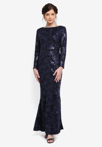 Zalia navy Embellished Mermaid Dress 5026AAA2AE1B46GS_1