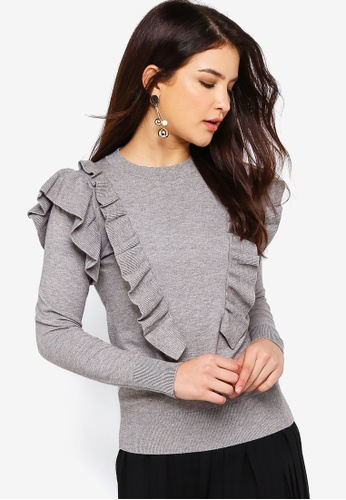 ZALORA grey Ruffle Pullover 194F0AAC09D43EGS_1