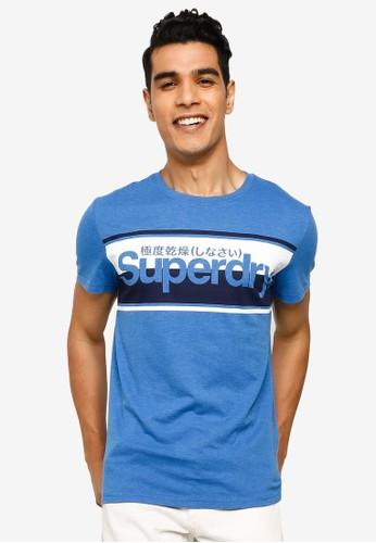 Superdry blue Core Logo Stripe Tee 0FABFAAFA6D834GS_1