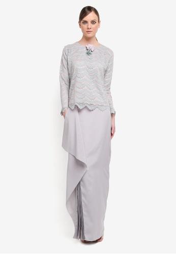 Kree for ZALORA grey and pink Ritisya Drape Skirt Lace Kurung KR498AA0STGFMY_1