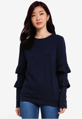 Dorothy Perkins navy Navy Ruffle Sleeve Sweater DO816AA0RQUYMY_1