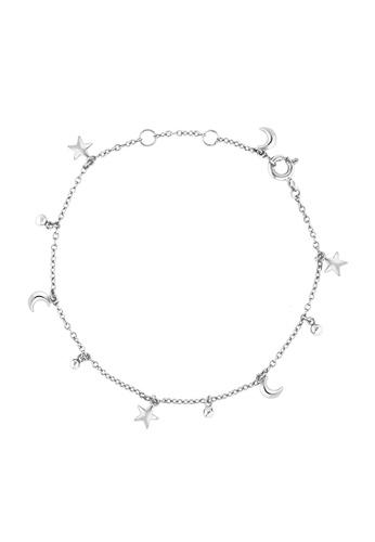 Au Revoir Les Filles Silver Celestial Star Moon Charm Chain Bracelet Au367ac39oqqsg 1