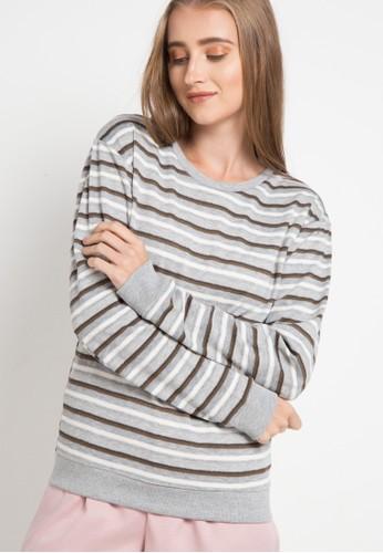 MEIJI-JOY green Sweater Stripe Basic B0ADAAA62BCC7EGS_1