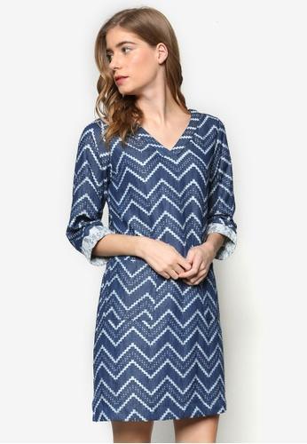 Geb. blue Chevron Print Dress GE945AA84FCPMY_1