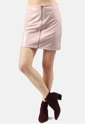 London Rag pink Faux Leather Mini Skirt 032F6AA5F88FD6GS_1