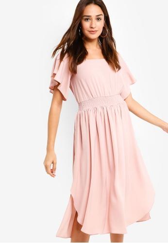 ZALORA pink Ruffle Midi Dress D06B4AA697022AGS_1