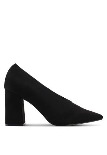 Public Desire black Spy Point Toe Block Heels 78210SHCE0EFBCGS_1