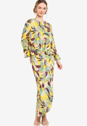 Lubna 綠色 and 褐色 Printed Flare Sleeve Kurung AC8D3AA72D52F7GS_1