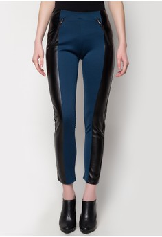 Knit Jeggings with Leather Combi and Zipper Details