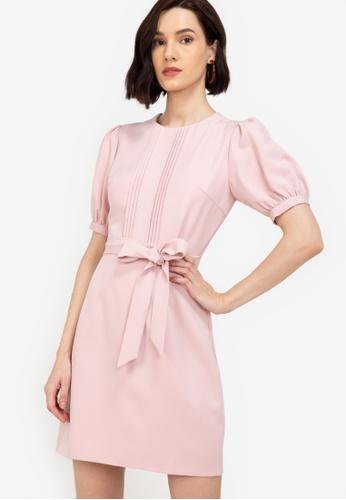 ZALORA WORK pink Pintuck Detail Puff Sleeves Dress 35010AA479D94CGS_1