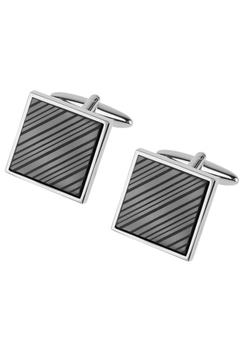 CUFF IT silver Laser Engraved Gunmetal Diagonal Stripes Cufflinks CU047AC61HWWHK_1