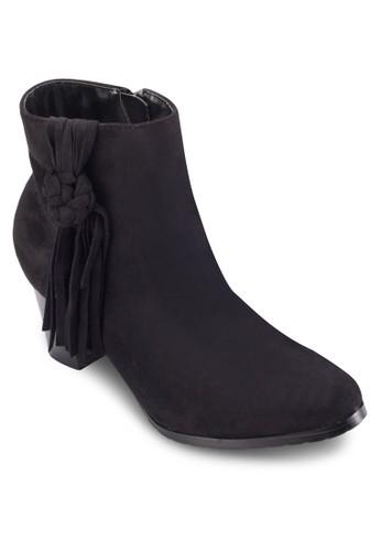 扭結zalora 包包評價流蘇帶粗跟短靴, 女鞋, 鞋