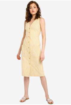 9db759704b2a26 WAREHOUSE Cotton Stripe Button Dress S  139.00. Available in several sizes