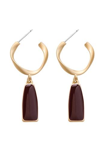 YOUNIQ red YOUNIQ Basic Korean Ring Classic Big Statement Rosegold Long Drop Earrings Red 4A079AC79CA273GS_1