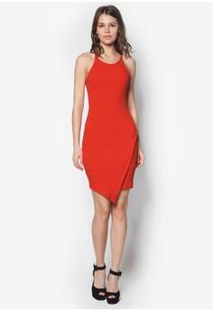 Crepe Asymmetric Hem Bodycon Dress