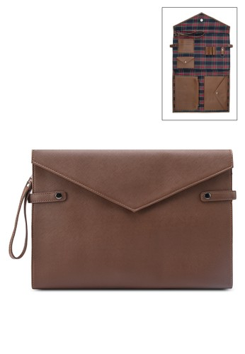 Saffiano Document Cesprit香港分店ase With Detachable Strap, 包, 包