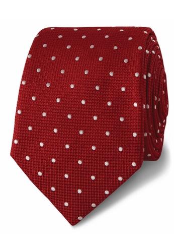 T.M. LEWIN red T.M.Lewin White Textured Satin Spot Silk Tie 82441AC1D4FAF8GS_1