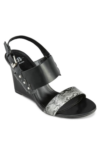 Claudesprit旗艦店ia 蛇紋寬帶繞踝楔形鞋, 女鞋, 楔形鞋