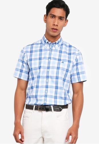 Brooks Brothers blue Regent Fit Short Sleeve Sport Shirt AF242AA0B7718DGS_1