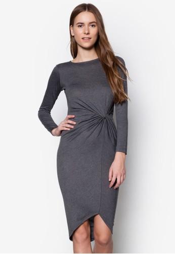 扭結長袖連身裙,zalora 衣服評價 服飾, 洋裝