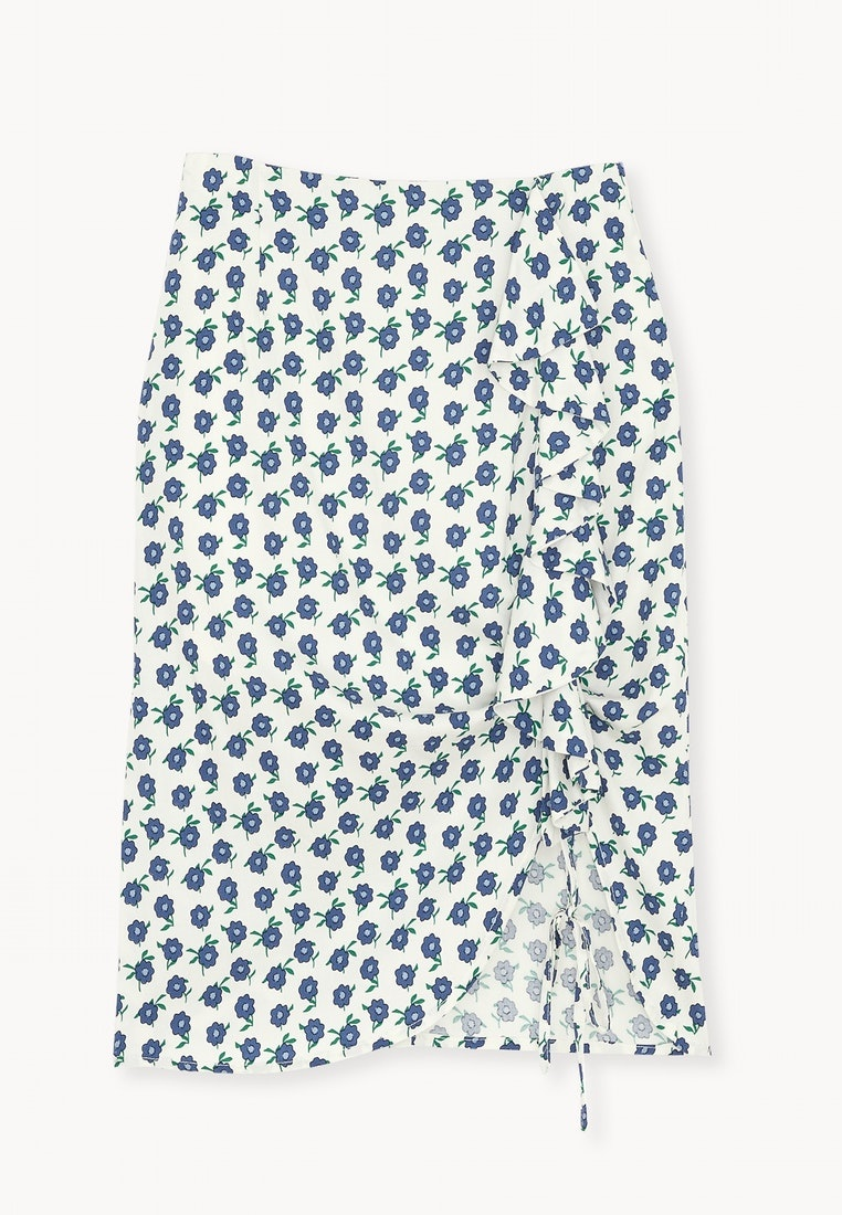 Pencil White Pomelo Ruched Floral Midi Skirt FqBStq