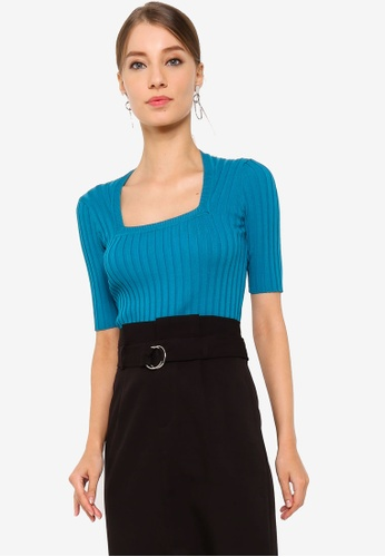 ZALORA WORK green Square Neck Knitted Jumper 75033AA24662BAGS_1