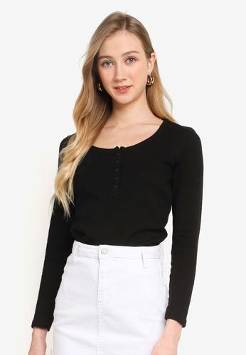 Cotton On black Winnie Waffle Scoop Henley Long Sleeve Top B822EAAC14AF02GS_1