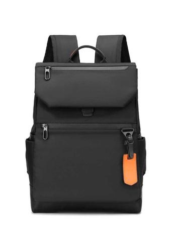 Lara black Men's Wear-resistant Water-repellent Nylon Zipper Backpack - Black (Large Size) 57E56AC2E2C763GS_1