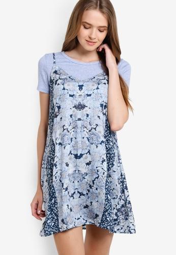 ZALORA navy Love Mix Prints Cami Dress 12605AA9BF8E2AGS_1