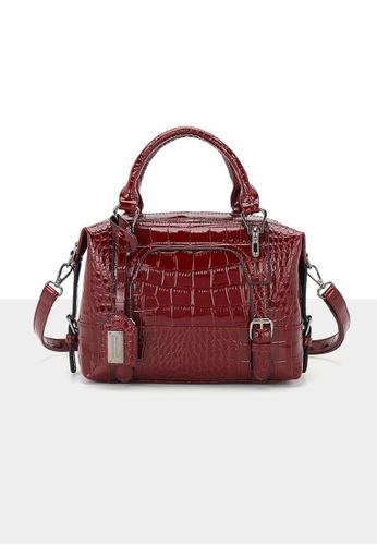 Lara red Women's Crocodile Skin Embossed PU Leather Zipper Shoulder Bag Handbag - Wine Red 97B74AC24EBAD9GS_1