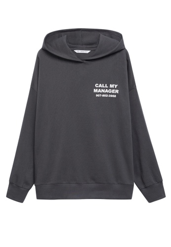MANGO KIDS grey Oversized Message Hoodie 6150DKAB084A8AGS_1