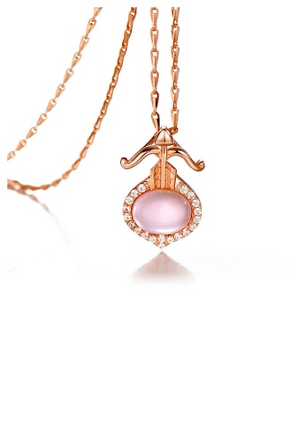 Glamorousky pink Plated Rose Gold Twelve Horoscope Sagittarius Pendant with White Cubic Zircon and Necklace 1B361AC089A394GS_1