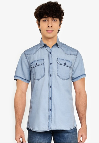 LC Waikiki blue Slim Fit Short Sleeve Jean Shirt CA5CBAA8E60246GS_1