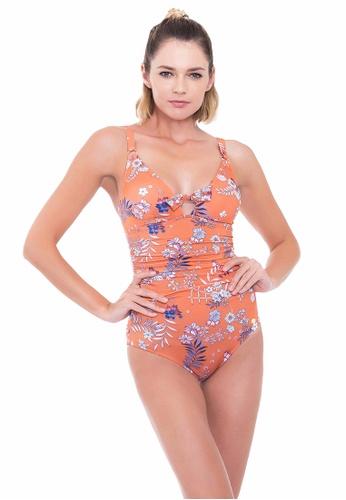 Sunseeker orange Desert Bloom D Cup One-piece Swimsuit 117A6US20C54AEGS_1