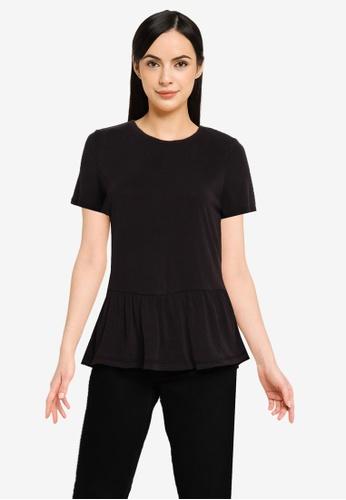 Vero Moda black Filli Short Sleeves Peplum Top 2DDC8AA03587C6GS_1